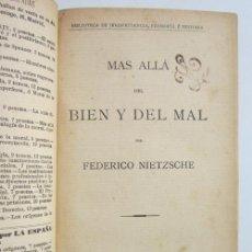 Livros antigos: FRIEDRICH NIETZSCHE. MÁS ALLÁ DEL BIEN Y DEL MAL. MADRID: LA ESPAÑA MODERNA, 1900. Lote 226296405
