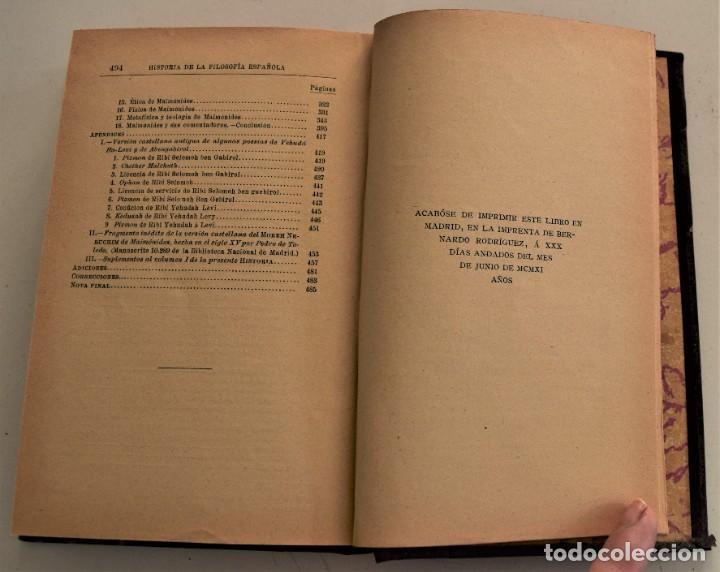 Libros antiguos: HISTORIA DE LA FILOSOFÍA ESPAÑOLA (SIGLOS VIII-XII: JUDÍOS) - ADOLFO BONILLA - MADRID 1911 - Foto 8 - 227754174