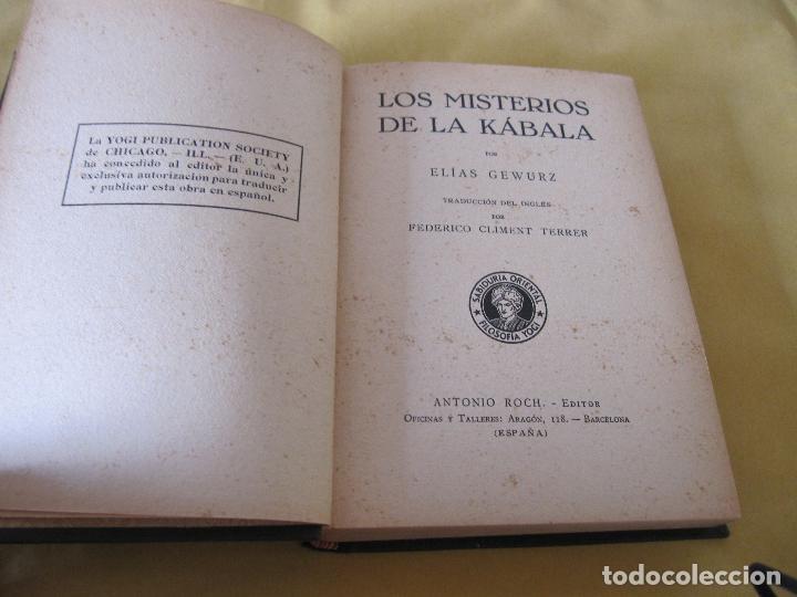 Libros antiguos: ELIAS GEWURZ. LOS MISTERIOS DE LA KÁBALA. ANTONIO ROCH EDITOR. IMPRENTA CLARASÓ. BARCELONA, - Foto 4 - 228127740