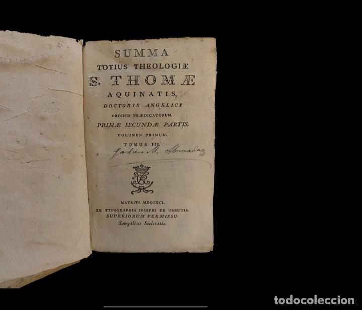 Libros antiguos: Summa teológica de Sto Tomás de Aquino, 1791 pergamino, tomos, I, III , IV, V VII, VIII, IX, X, XI - Foto 7 - 230057255