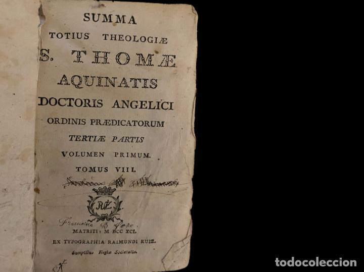 Libros antiguos: Summa teológica de Sto Tomás de Aquino, 1791 pergamino, tomos, I, III , IV, V VII, VIII, IX, X, XI - Foto 8 - 230057255