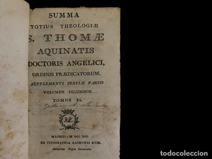 Libros antiguos: Summa teológica de Sto Tomás de Aquino, 1791 pergamino, tomos, I, III , IV, V VII, VIII, IX, X, XI - Foto 9 - 230057255