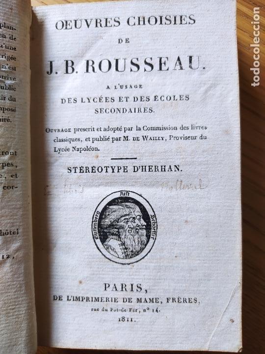 Libros antiguos: OEUVRES CHOISIES DE J. B. ROUSSEAU A L USAGE DES LYCEES, Publicado por MAME (1811) - Foto 9 - 232270360
