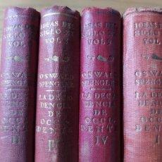 Libri antichi: LA DECADENCIA DE OCCIDENTE, SPENGLER, EDICION DE CALPE, DE 1934. OBRA COMPLETA. BUEN ESTADO.. Lote 232271545