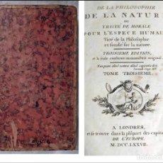 Livros antigos: AÑO 1777: MUY RARO: DE LA FILOSOFÍA DE LA NATURALEZA.. Lote 232955560