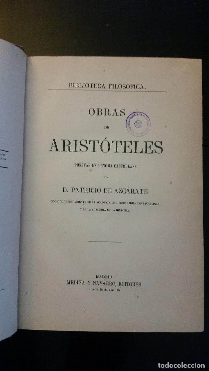 Libros antiguos: 1874 - ARISTÓTELES - OBRAS TRADUCIDAS POR PATRICIO DE AZCÁRATE: LÓGICA 4 TOMOS - Foto 5 - 234569045