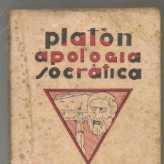 Libros antiguos: PLATON ,,APOLOGIA SOCRATICA, DIALOGOS ,. Lote 234797875