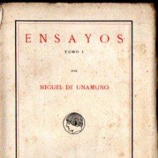 Libros antiguos: MIGUEL DE UNAMUNO : ENSAYOS TOMO I (RESIDENCIA DE ESTUDIANTES, 1916) PRIMERA EDICIÓN - INTONSO. Lote 236733070