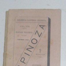 Libros antiguos: SPINOZA ,TRATADO TEOLÓGICO POLÍTICO BIBLIOTECA ECONOMICA FILOSOFICA ZOZAYA Nº ,VIII ,1882 109 PP.IN. Lote 238669830