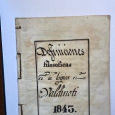 Libros antiguos: DEFINICIONES FILOSÓFICAS DE LA LÓGICA VALDINOTI 1843. Lote 243233100