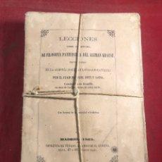 Libros antiguos: LECCIONES SOBRE EL SISTEMA DE FILOSOFÍA PA TRISTONA DEL ALEMÁN KRAUSE 1865. Lote 245768765