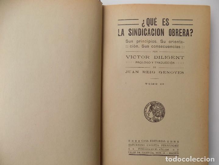 LIBRERIA GHOTICA. VIETOR DILIGENT. ¿QUE ES LA SINDICACIÓN OBRERA? 1900.SATURNINO CALLEJA. (Libros Antiguos, Raros y Curiosos - Pensamiento - Filosofía)