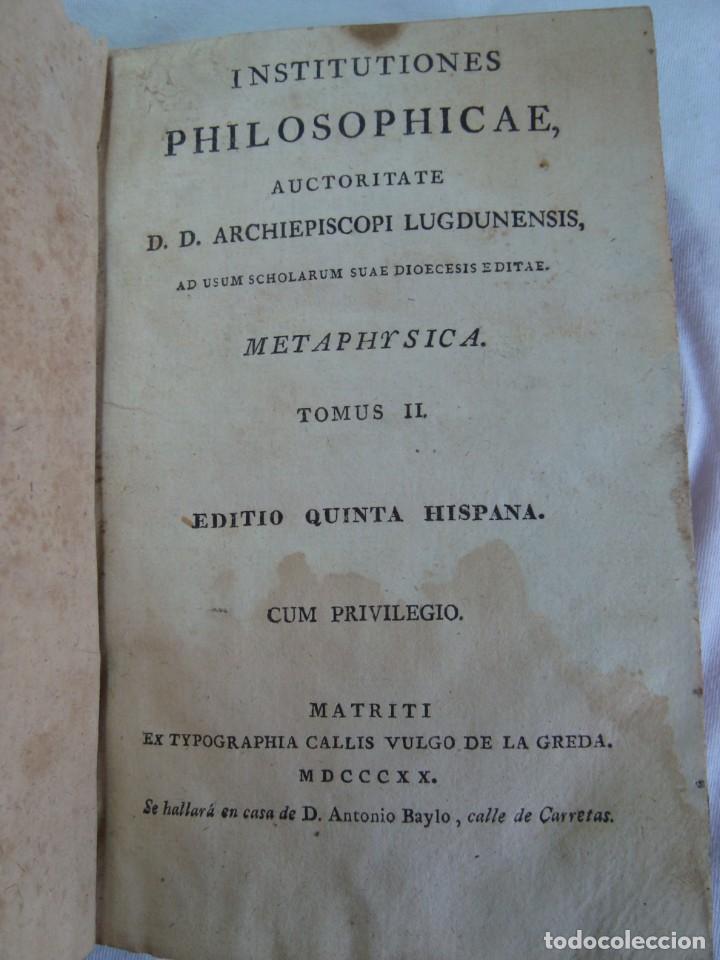 1820 - INSTITUTIONES PHILOSOPHICAE - METAPHYSICA - LIBRO ANTIGUO (Libros Antiguos, Raros y Curiosos - Pensamiento - Filosofía)