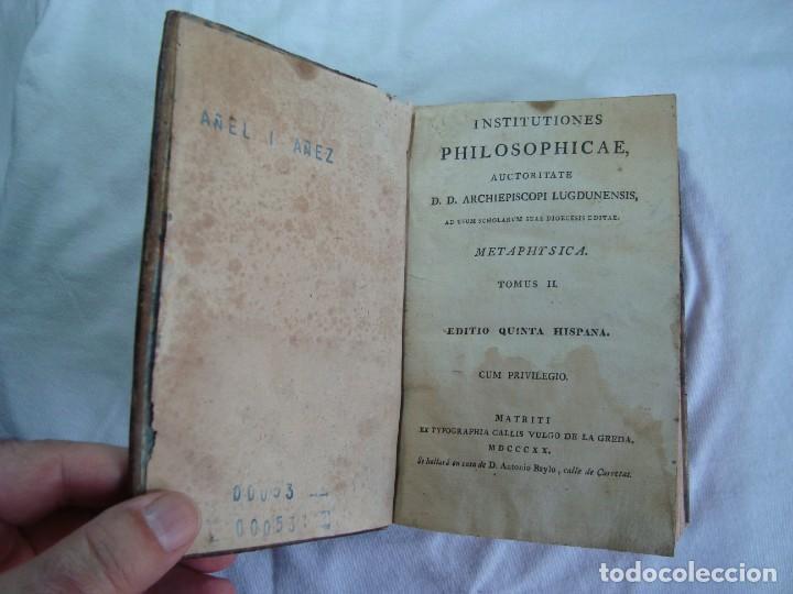 Libros antiguos: 1820 - INSTITUTIONES PHILOSOPHICAE - METAPHYSICA - LIBRO ANTIGUO - Foto 3 - 263126625