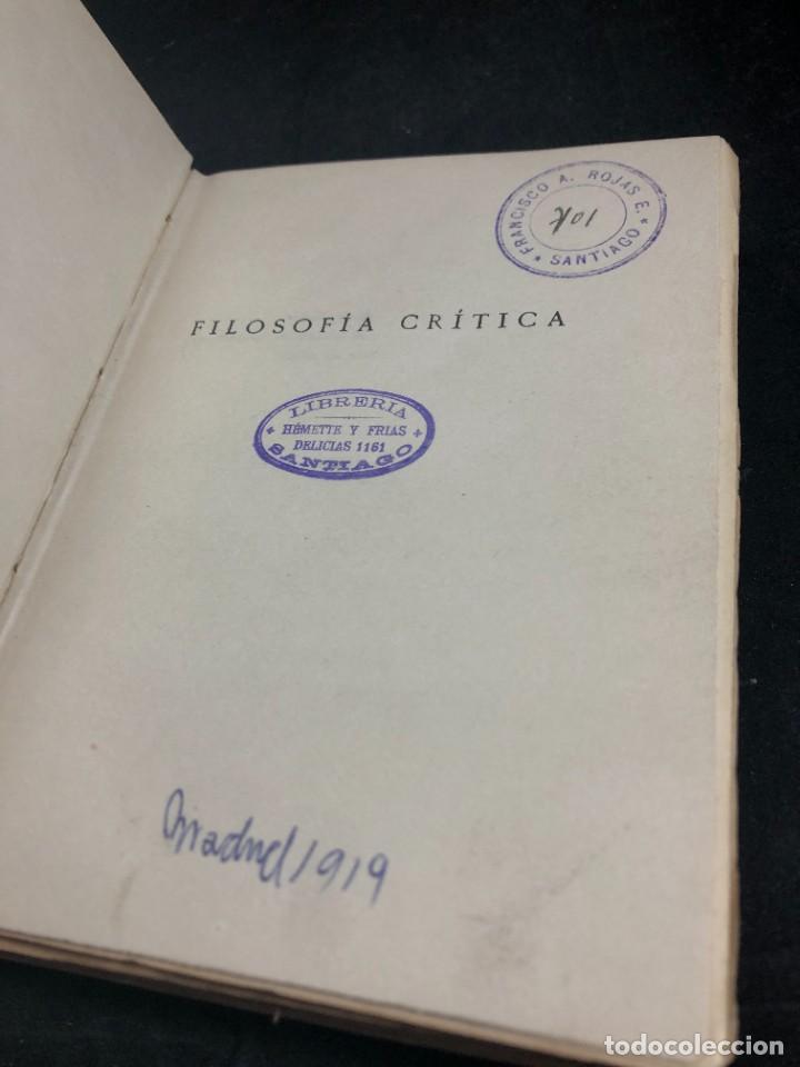 Libros antiguos: FILOSOFIA CRITICA. Dr. R. TURRO. PRIMERA EDICION CASTELLANA 1919 - Foto 5 - 270931483