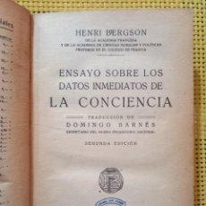 Libros antiguos: HENRI BERGSON - ENSAYO SOBRE LOS DATOS INMEDIATOS DE LA CONCIENCIA - 1925 FRANCISCO BELTRÁN, MADRID. Lote 270994288