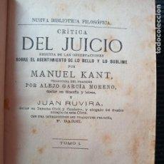 Libros antiguos: CRITICA DEL JUICIO. MANUEL KANT. TRADUCIDA POR ALEJO GARCIA MORENO Y JUAN RUVIRA. TOMO I. 1876,. Lote 271689093