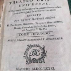 Libros antiguos: TEATRO CRÍTICO UNIVERSAL. FEIJOO. TOMO SEGUNDO. 1781. Lote 275588218