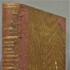 Libros antiguos: 1868.- ENSAYOS CRÍTICOS SOBRE FILOSOFÍA INSTRUCCIÓN PÚBLICA ESPAÑOLA. GUMERSINDO LAVERDE. Lote 277089618