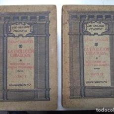 Libros antiguos: LA EVOLUCIÓN CREADORA. HENRY BERGSON. 2 TOMOS. EDITORIAL RENACIMIENTO, 1912. Lote 288032748