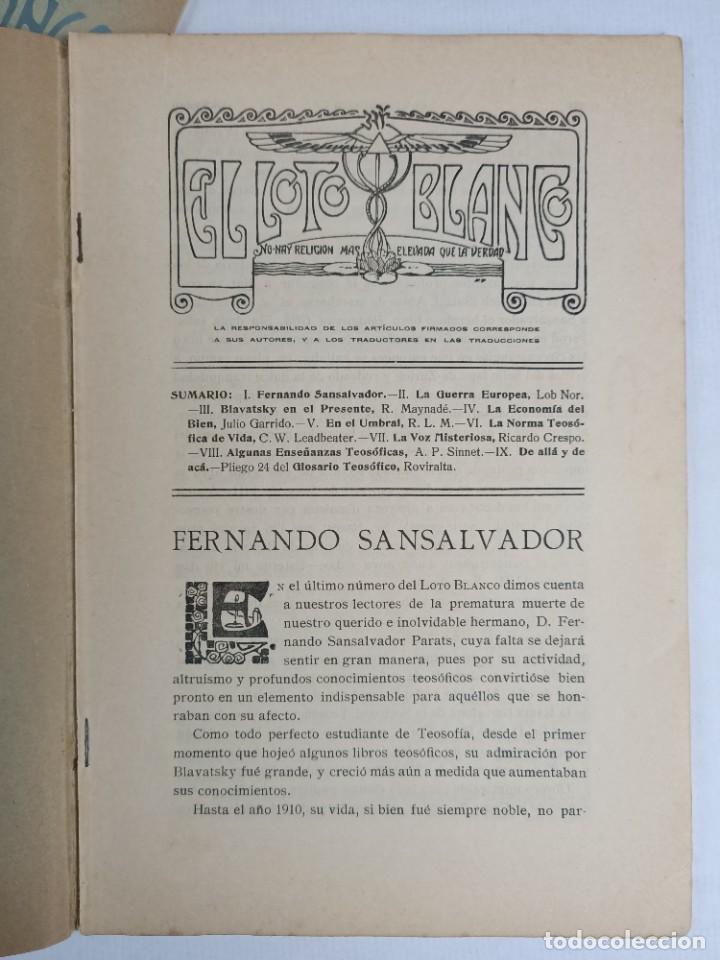Libros antiguos: EL LOTO BLANCO - REVISTA TEOSOFICA - 1918 AÑO COMPLETO - 12 NÚMEROS - CLIMENT , Federico - TEOSOFIA - Foto 4 - 288063963
