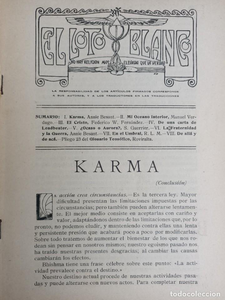 Libros antiguos: EL LOTO BLANCO - REVISTA TEOSOFICA - 1918 AÑO COMPLETO - 12 NÚMEROS - CLIMENT , Federico - TEOSOFIA - Foto 5 - 288063963