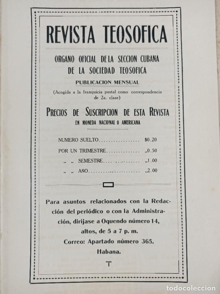 Libros antiguos: 1917 - REVISTA TEOSOFICA / ORGANO OFICIAL / DE LA SECCION CUBANA DE LA SOCIEDAD TEOSOFICA - Foto 3 - 288065503
