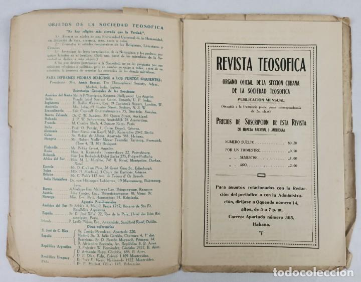 Libros antiguos: 1917 - REVISTA TEOSOFICA / ORGANO OFICIAL / DE LA SECCION CUBANA DE LA SOCIEDAD TEOSOFICA - Foto 4 - 288065503