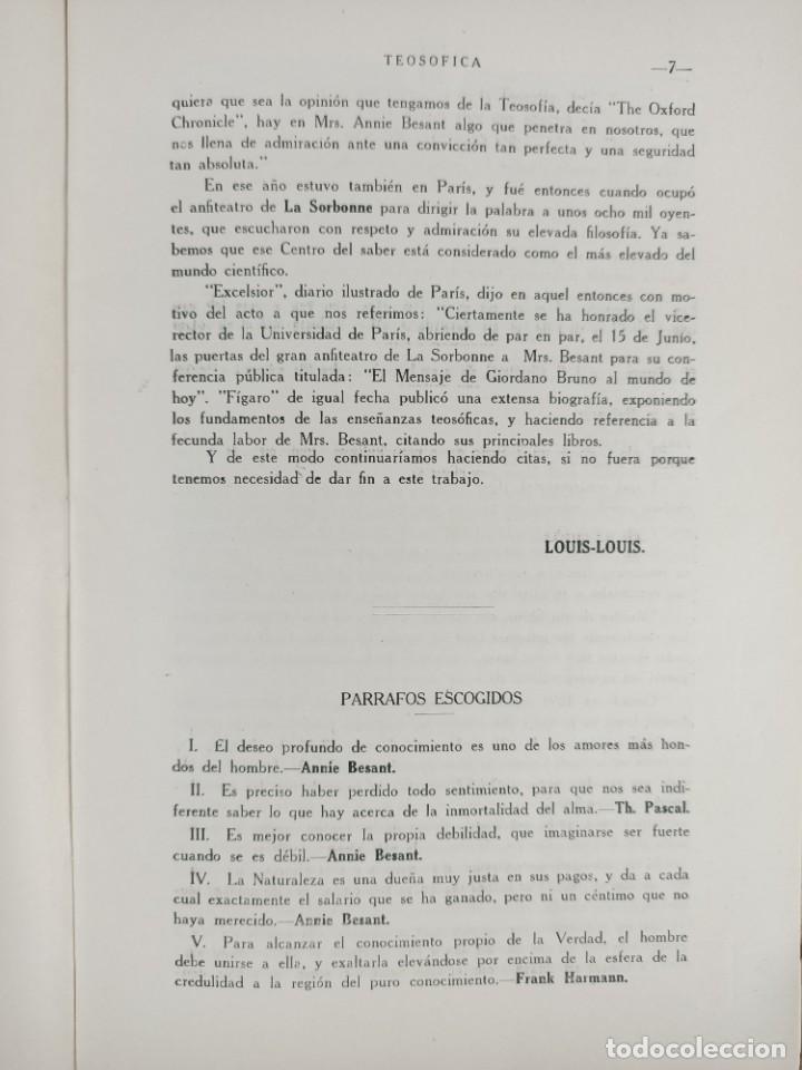 Libros antiguos: 1917 - REVISTA TEOSOFICA / ORGANO OFICIAL / DE LA SECCION CUBANA DE LA SOCIEDAD TEOSOFICA - Foto 5 - 288065503