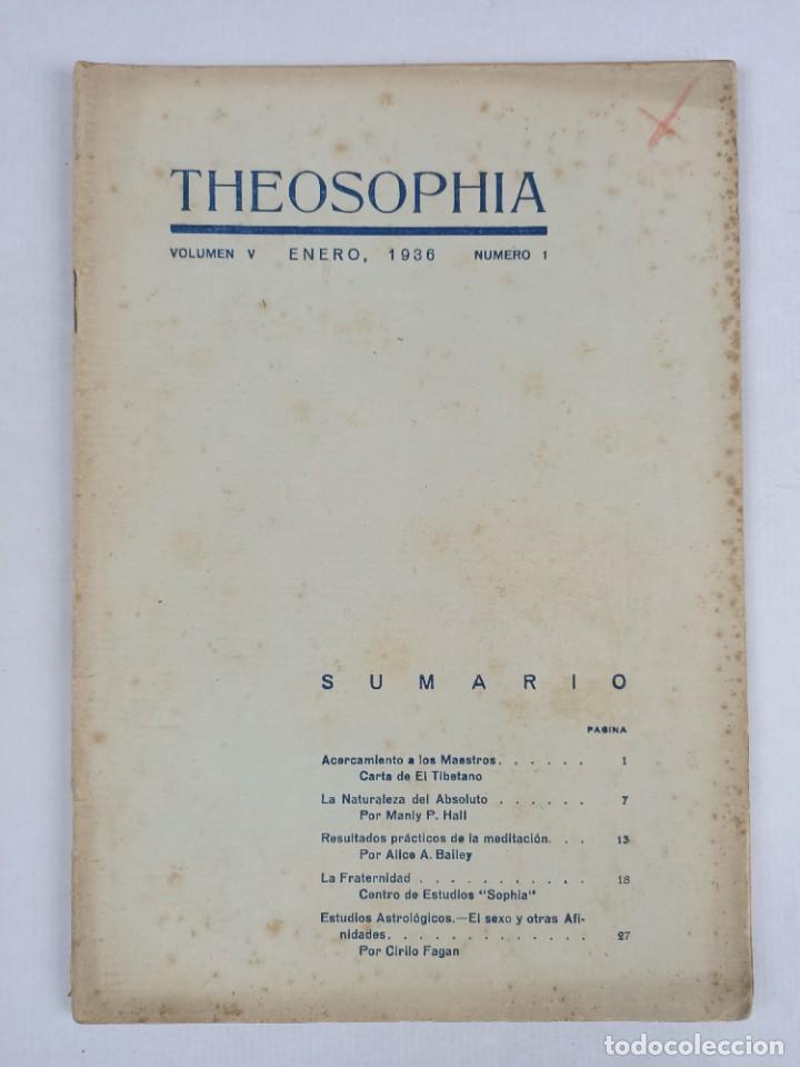 THEOSOPHIA - REVISTA DE SINTESIS ESPIRITUAL / VOLUMEN V / ENERO 1936 / NÚMERO 1 - TEOSOFIA (Libros Antiguos, Raros y Curiosos - Pensamiento - Filosofía)