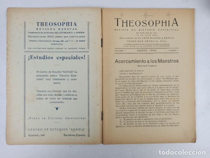 Libros antiguos: THEOSOPHIA - REVISTA DE SINTESIS ESPIRITUAL / VOLUMEN V / ENERO 1936 / NÚMERO 1 - TEOSOFIA - Foto 2 - 288071648