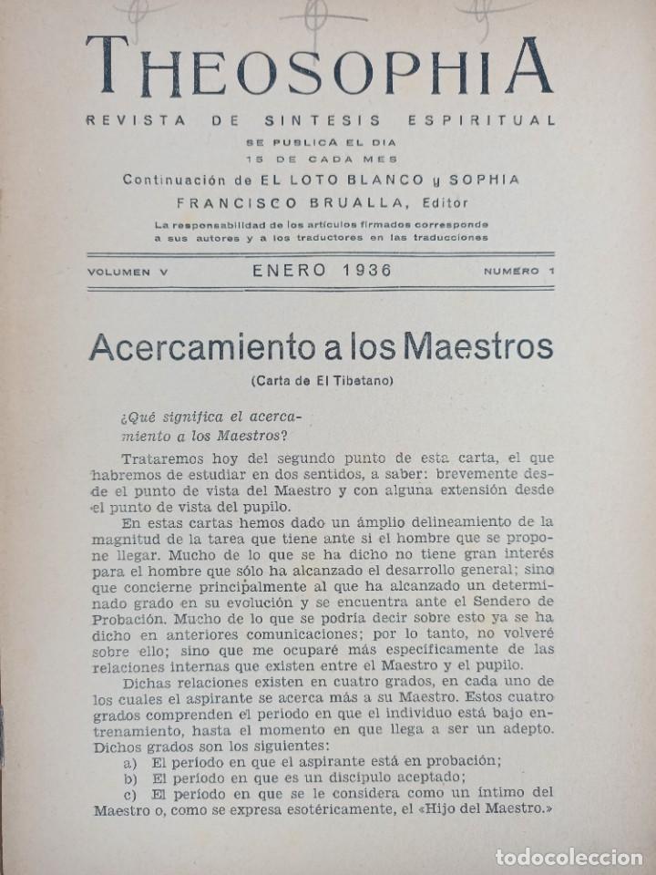 Libros antiguos: THEOSOPHIA - REVISTA DE SINTESIS ESPIRITUAL / VOLUMEN V / ENERO 1936 / NÚMERO 1 - TEOSOFIA - Foto 3 - 288071648
