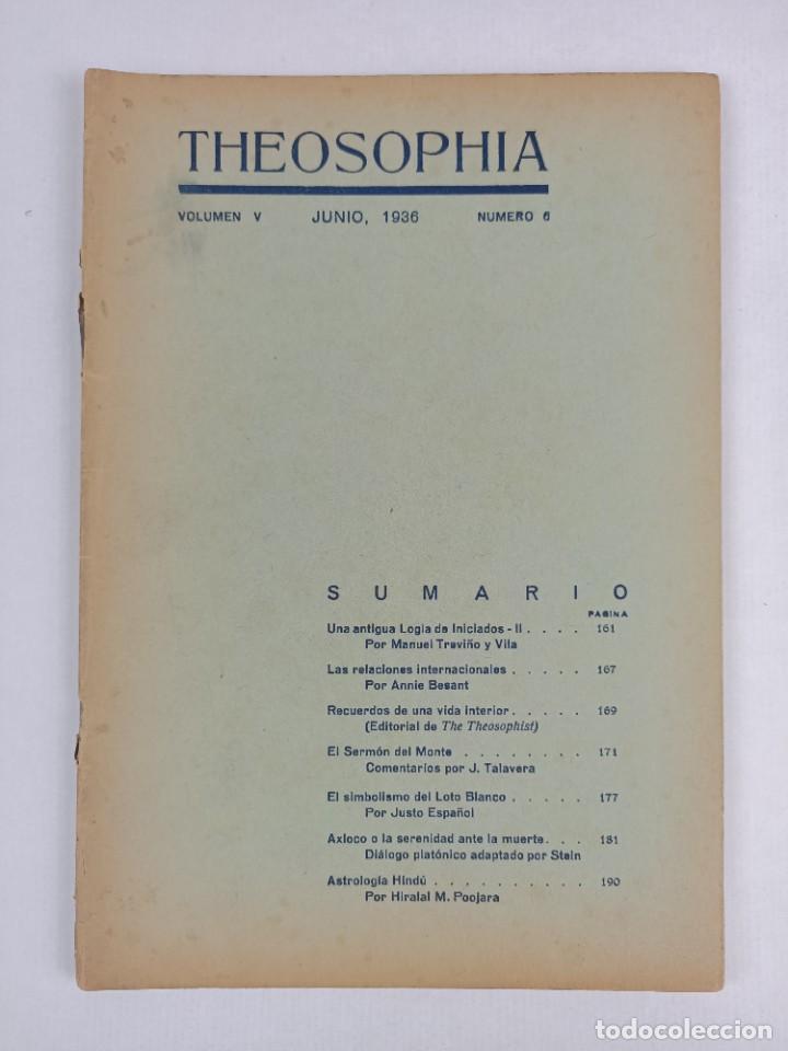 THEOSOPHIA - REVISTA DE SINTESIS ESPIRITUAL / VOLUMEN V / JUNIO 1936 / NÚMERO 6 - TEOSOFIA (Libros Antiguos, Raros y Curiosos - Pensamiento - Filosofía)