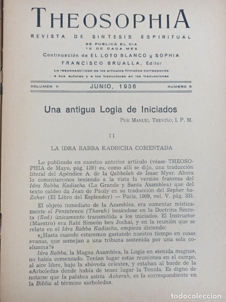 Libros antiguos: THEOSOPHIA - REVISTA DE SINTESIS ESPIRITUAL / VOLUMEN V / JUNIO 1936 / NÚMERO 6 - TEOSOFIA - Foto 3 - 288072343