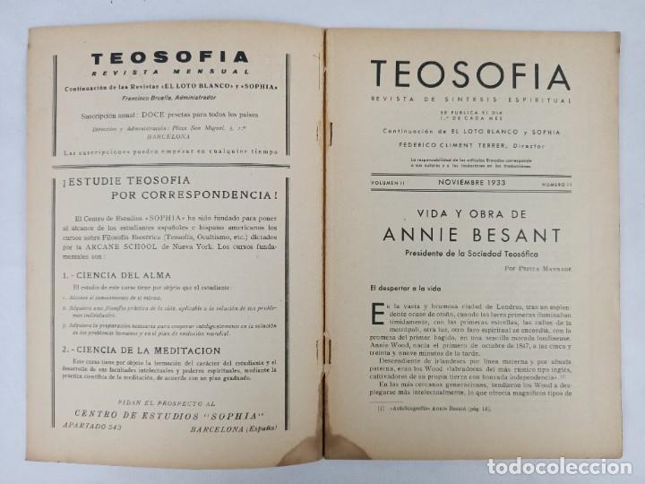 Libros antiguos: TEOSOFIA -/ VOLUMEN II / NOVIEMBRE 1933 / NUMERO 11 / HOMENAJE A LA DRA. ANNIE BESANT - Foto 2 - 288073288