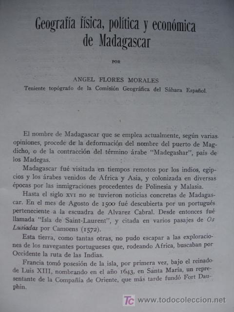 GEOGRAFIA FISICA Y POLITICA Y ECONOMICA DE ,MADAGASCAR, ANGEL FLORES MORALES (Libros Antiguos, Raros y Curiosos - Geografía y Viajes)
