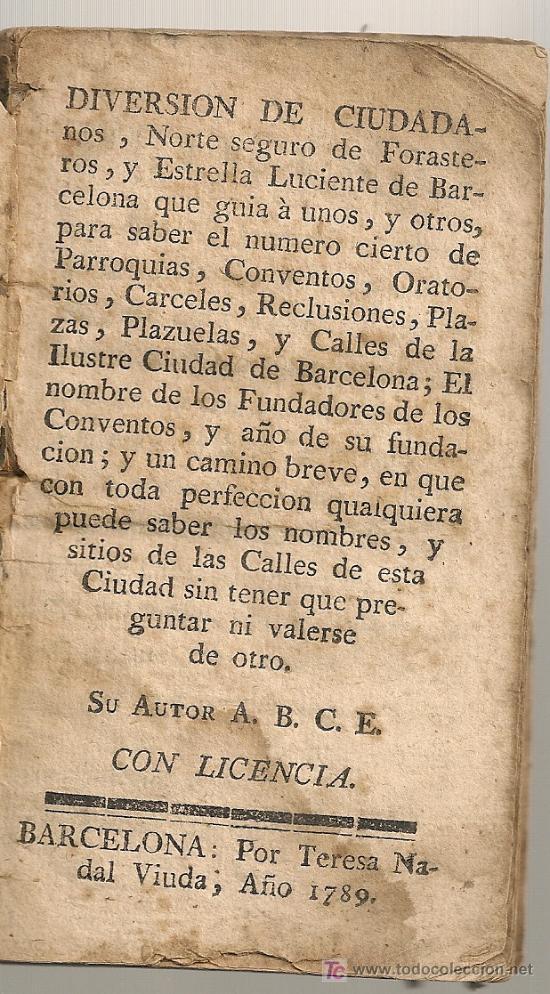 DIVERSION DE CIUDADANOS...[ GUIA DE BARCELONA ] BCN : TERESA NADAL, 1789. 13,5X7,5CM. 74 P. (Libros Antiguos, Raros y Curiosos - Geografía y Viajes)