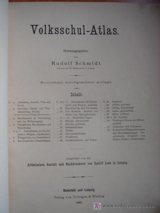 Libros antiguos: ATLAS UNIVERSAL ESCOLAR, 1895, SCHMIDT, ATLAS CON 32 MAPAS COLOREADOS - Foto 5 - 26969840