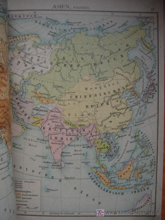 Libros antiguos: ATLAS UNIVERSAL ESCOLAR, 1895, SCHMIDT, ATLAS CON 32 MAPAS COLOREADOS - Foto 12 - 26969840