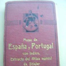 Libros antiguos: MAPA DE ESPAÑA Y PORTUGAL ESCALA 1:1500000 POR DR. C.VOGEL. PLEGADO SOBRE TELA CON ÍNDICE. . Lote 27522921