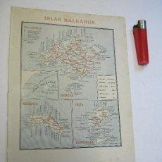 Libros antiguos: 1900 MAPA ISLAS BALEARES ++ MALLORCA IBIZA MENORCA FORMENTERA CABRERA. Lote 25934221