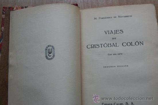 VIAJES DE CRISTÓBAL COLÓN. FERNÁNDEZ DE NAVARRETE (M.) (Libros Antiguos, Raros y Curiosos - Geografía y Viajes)