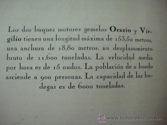 Libros antiguos: FOLLETO PUBLICITARIO DE LOS BUQUES ORAZIO Y VIRGILIO, PRIMERA Y SEGUNDA CLASE - Foto 5 - 27511004