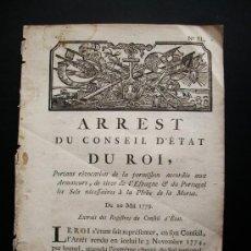 Libros antiguos: 1779-ORDEN DE LA SAL. ESPAÑA, PORTUGAL Y FRANCIA.CARLOS IV. RARO Y CURIOSO DOCUMENTO. Lote 29389838