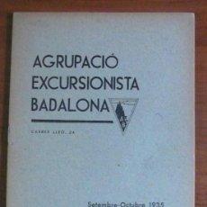 Libros antiguos: AGRUPACIÓ EXCURSIONISTA BADALONA. SETEMBRE-OCTUBRE 1935.. Lote 30302297