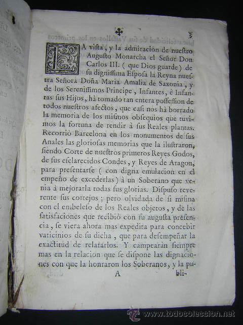 Libros antiguos: 1759 - RELACION OBSEQUIOSA... DEL VIAJE DE CARLOS III Y SU FAMILIA A BARCELONA EN 1759 - Foto 3 - 31614331
