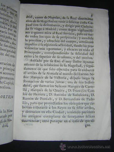 Libros antiguos: 1759 - RELACION OBSEQUIOSA... DEL VIAJE DE CARLOS III Y SU FAMILIA A BARCELONA EN 1759 - Foto 4 - 31614331