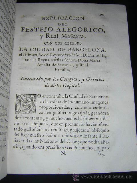 Libros antiguos: 1759 - RELACION OBSEQUIOSA... DEL VIAJE DE CARLOS III Y SU FAMILIA A BARCELONA EN 1759 - Foto 6 - 31614331