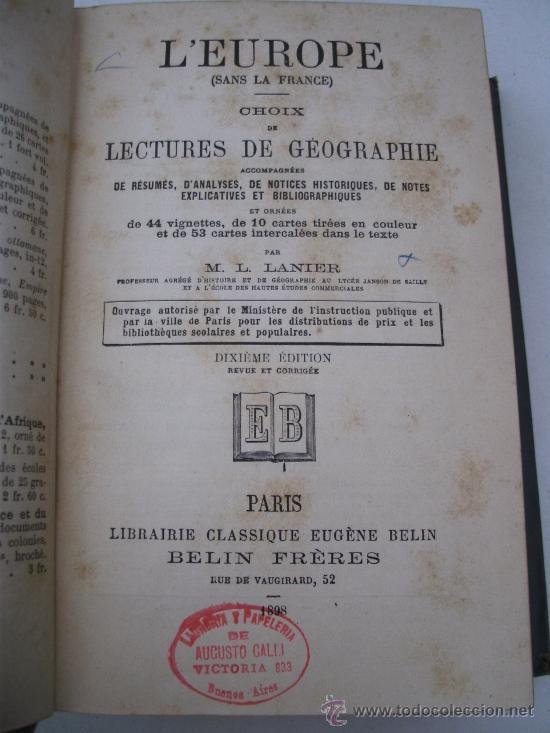 Libros antiguos: libro frances: selecciones de lectura sobre geografia, europa, por m.l.lanier, belin freres 1898 - Foto 3 - 32112848