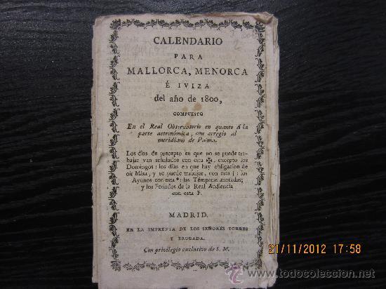 Libros antiguos: CALENDARIO PARA MALLORCA, MENORCA E IBIZA 1808 - Foto 2 - 34328274